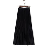 Bohemian Pleated Maxi Skirts Women Summer Solid Color High Waist Chiffon Long Skirt - The Accessorie Hub