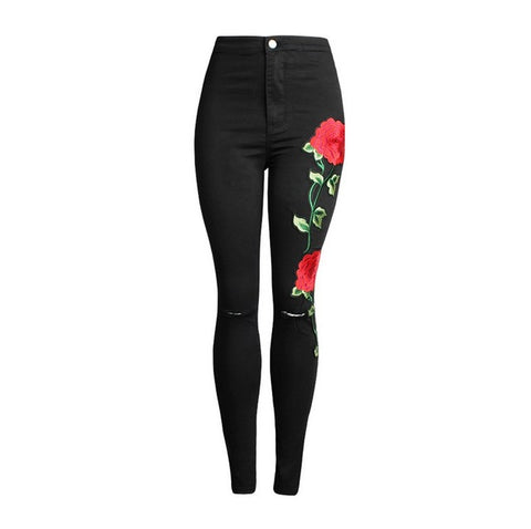 Women's Vintage Embroider Flowers jeans  Pencil Stretch Denim - The Accessorie Hub