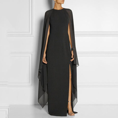 Black Simple Evening Dress With Cape 2017 Ultra Simple Chiffon Long Cape Formal - The Accessorie Hub