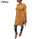 Long Sweater Dress Long Sleeve Round Neck Autumn Winter Warm - The Accessorie Hub