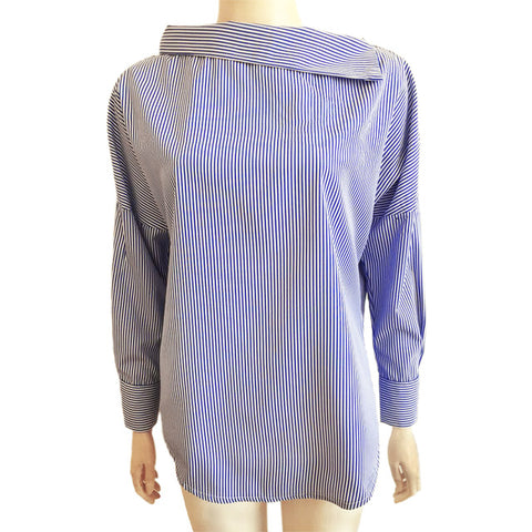 Women's Striped Sexy Oblique Collar Shirt Loose Long-sleeved - The Accessorie Hub