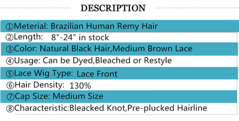 Straight Lace Front Human Hair Wigs Free Part Brazilian - The Accessorie Hub