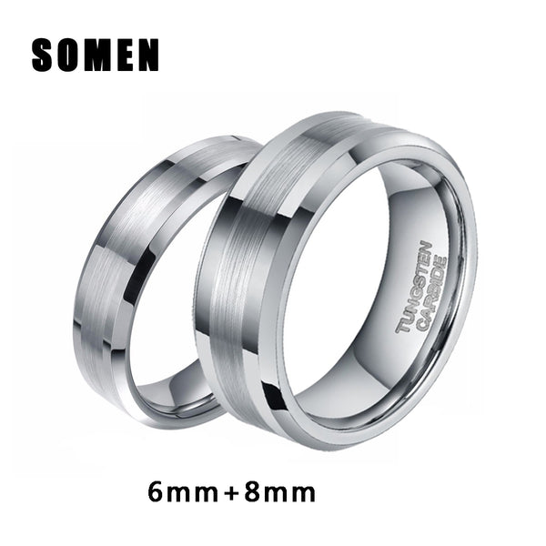 2Pcs 6mm 8mm Silver Tungsten Ring Men Women Wedding Band  Couple Rings - The Accessorie Hub