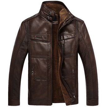 PU Leather Jacket Men  Velvet Warm Winter Motorcycle Business Casual - The Accessorie Hub