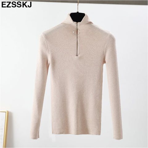 Zipper Sweater Women Turtleneck Tops Solid