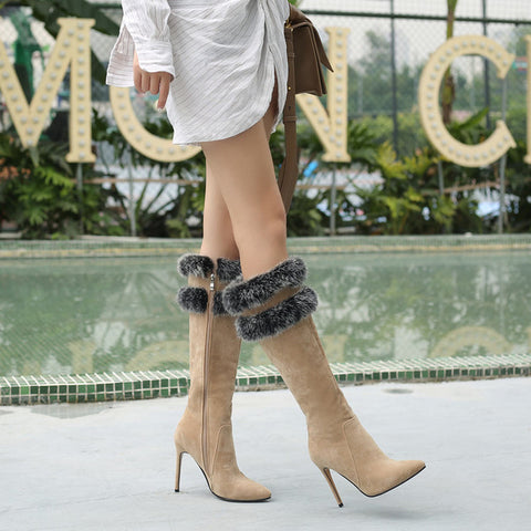 Women  Zipper Boots High Heels Pointed Toe Knee High - The Accessorie Hub