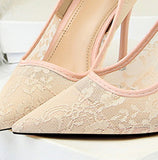 Elegant Lace Women Pumps High Heels Transparent Flower Lace - The Accessorie Hub