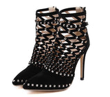 Gladiator Sandals Summer Spring Pointed Toe Ankle Boots Stiletto Heel Women Shoes - The Accessorie Hub