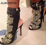 Crystal Studs Embroidery Short Ankle Cut-outs Peep Toe Sandal Boots - The Accessorie Hub