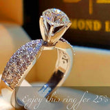 Crystal White Zircon Stone Ring Simple Round Style For Women - The Accessorie Hub
