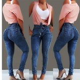 High Waist Jeans Slim Stretch Denim - The Accessorie Hub