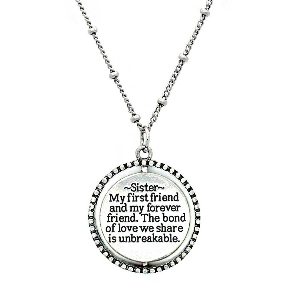 Spinning Inspirational Message Silver Necklace For Sister