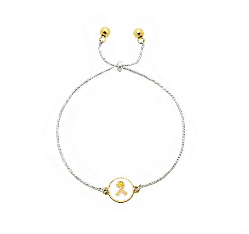One Cause Ribbon Bracelet With Crystals Childhood Cancer Awareness
