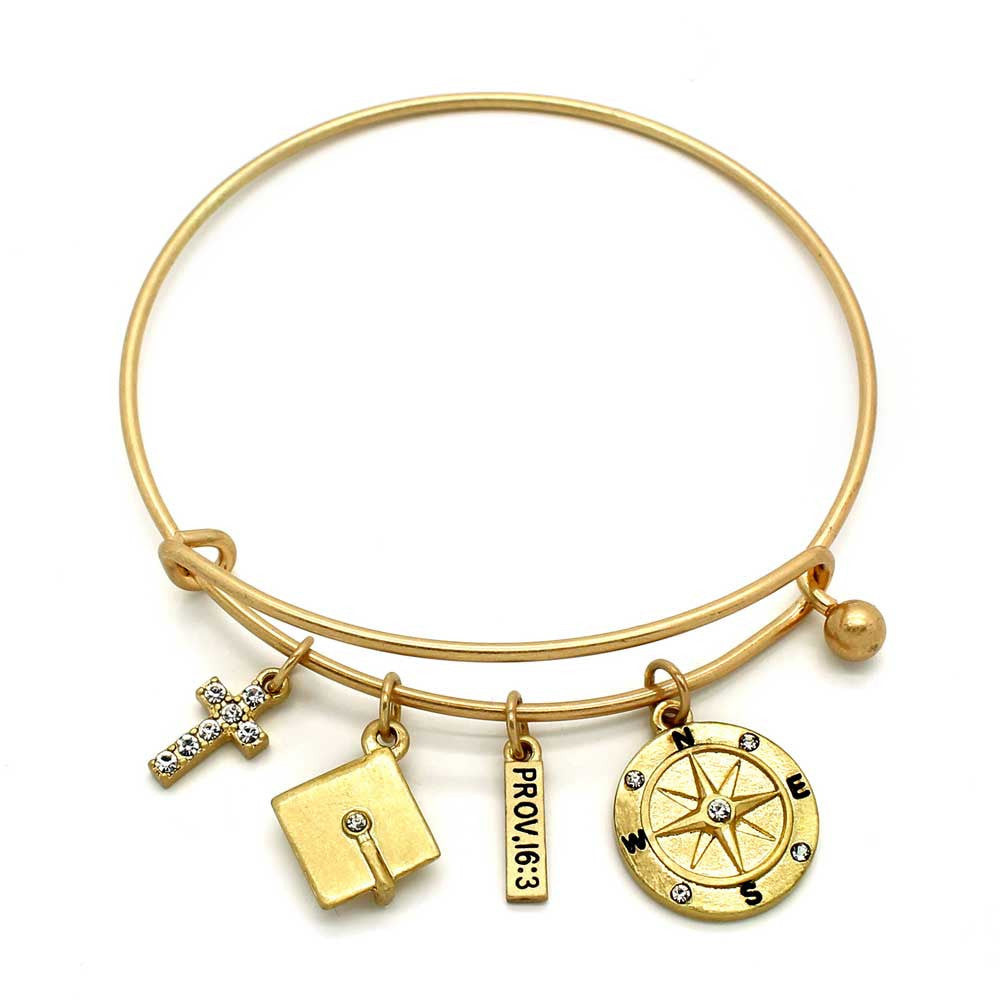 Wire Bangle Bracelet With Graduation Cap And Cross. Gold - KIS Jewelry