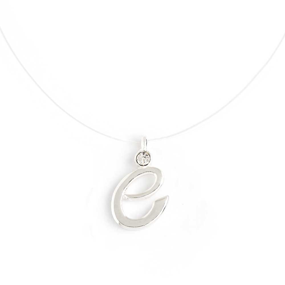 Invisible necklace with initial e script initial pendant necklace initial script letter e invisible cord transparent fish line illusion necklace aloadofball Image collections