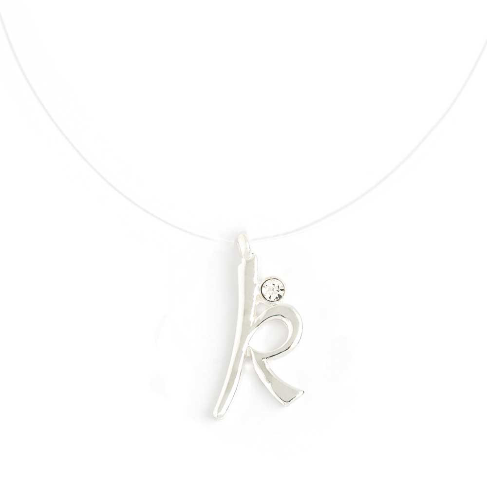 Invisible necklace with initial k script initial pendant necklace initial script letter k invisible cord transparent fish line illusion necklace aloadofball Gallery