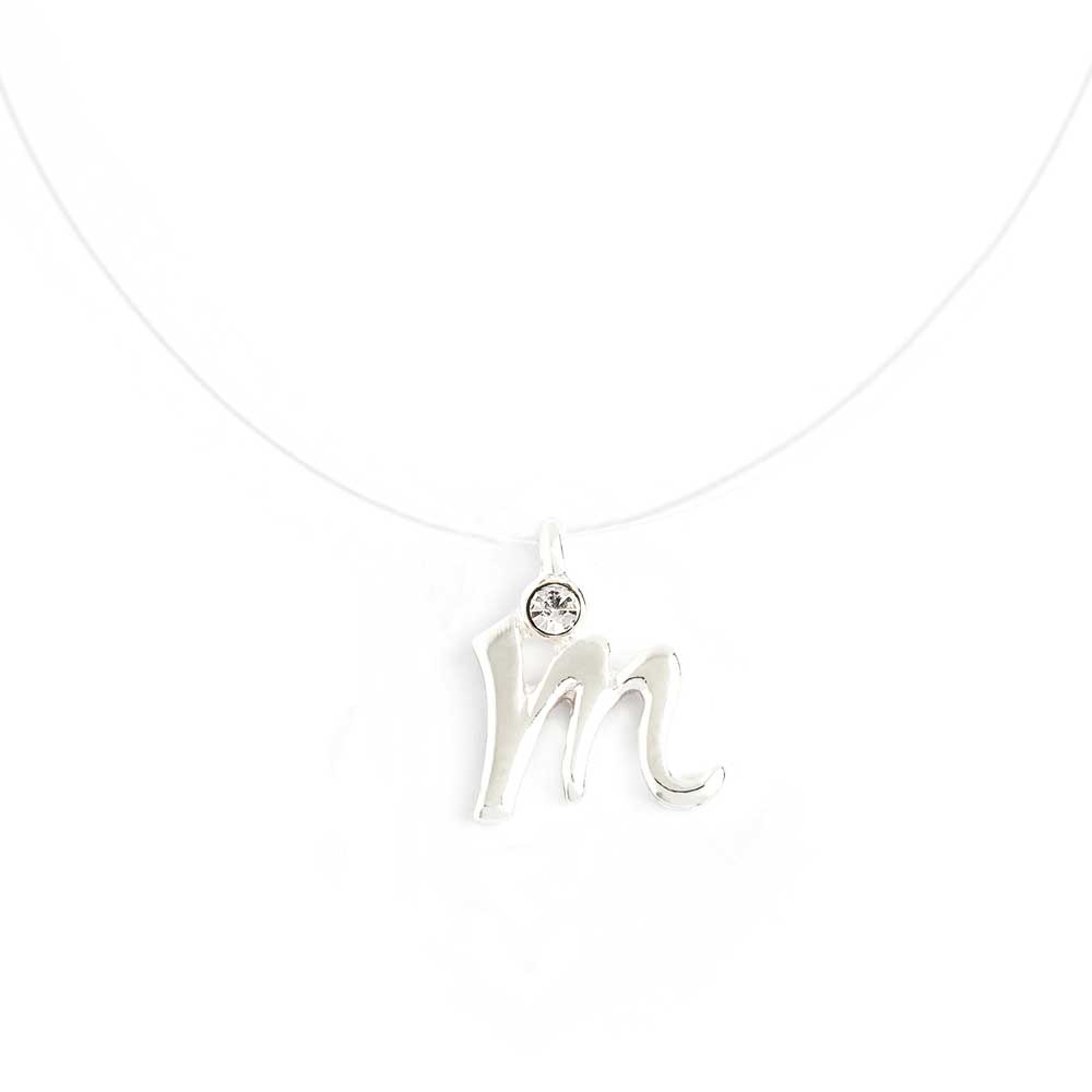 Invisible necklace with initial m script initial pendant necklace initial script letter m invisible cord transparent fish line illusion necklace aloadofball Image collections