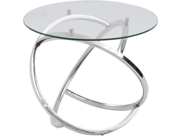 Exceptional Curl Silver Side Table With Clear Glass Top
