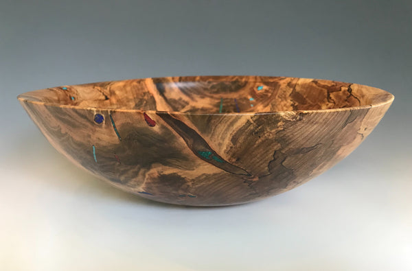 Ambrosia Maple Bowl with Crushed Stone Inlays