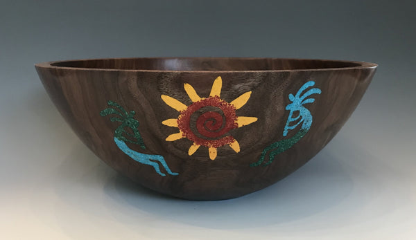 Walnut Bowl with Southwestern Crushed Stone Inlay