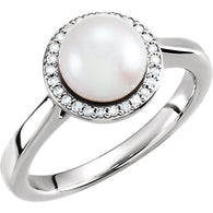 14K White Gold Freshwater Cultured Pearl & .08 CTW Diamond Halo-Style Ring