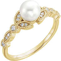 14k yellow gold leaf diamond & pearl leaf women's ring