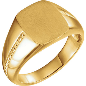 14K Gold Mens Signet Rope Ring