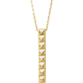 14K Gold Pyramid Bar Minimalist 18
