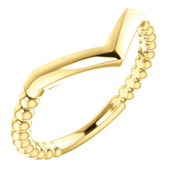 14K Yellow Gold Stackable Beaded V Ring