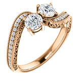 14k rose gold diamond two-stone round engagement ring