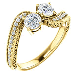 14K Yellow Gold Diamond Two-Stone Round Engagement Ring