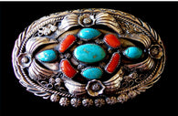 Museum Quality KENNETH BEGAY Sterling Silver and Turquoise Belt Buckle.