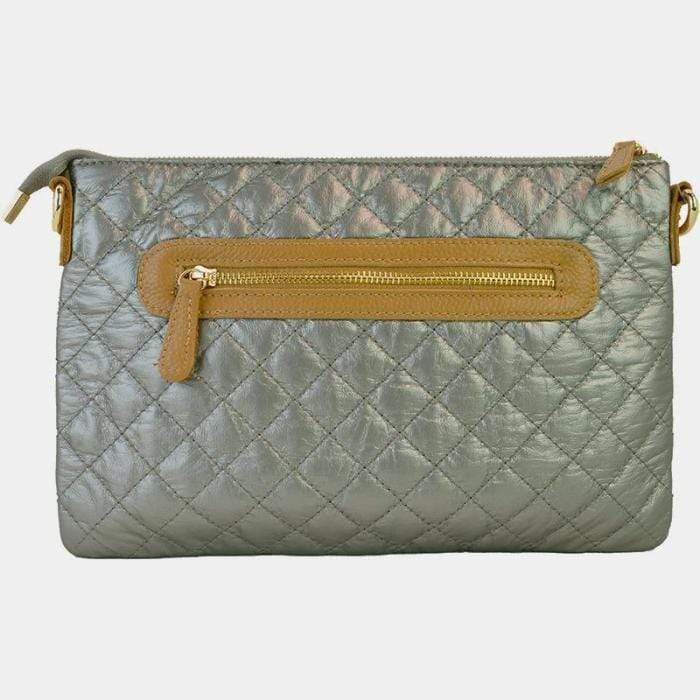 Adhorned Bags Quilted Zip Front Convertible Clutch