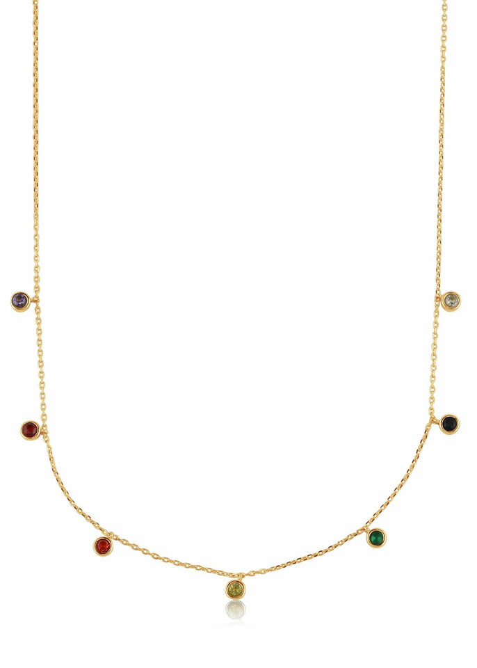 Big Metal London Necklace Gold Iris Rainbow Round Stone Necklace