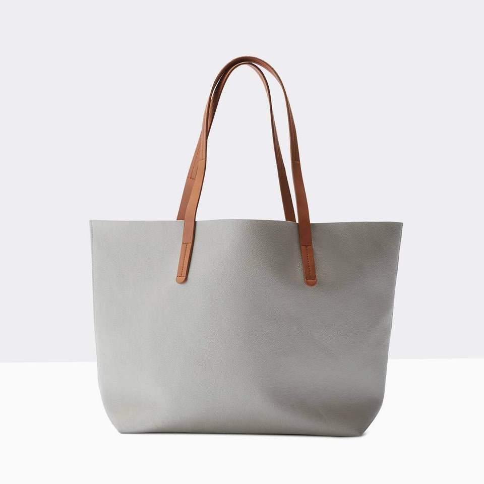 Boon Supply Bags Gray Vegan Leather Carryall Tote