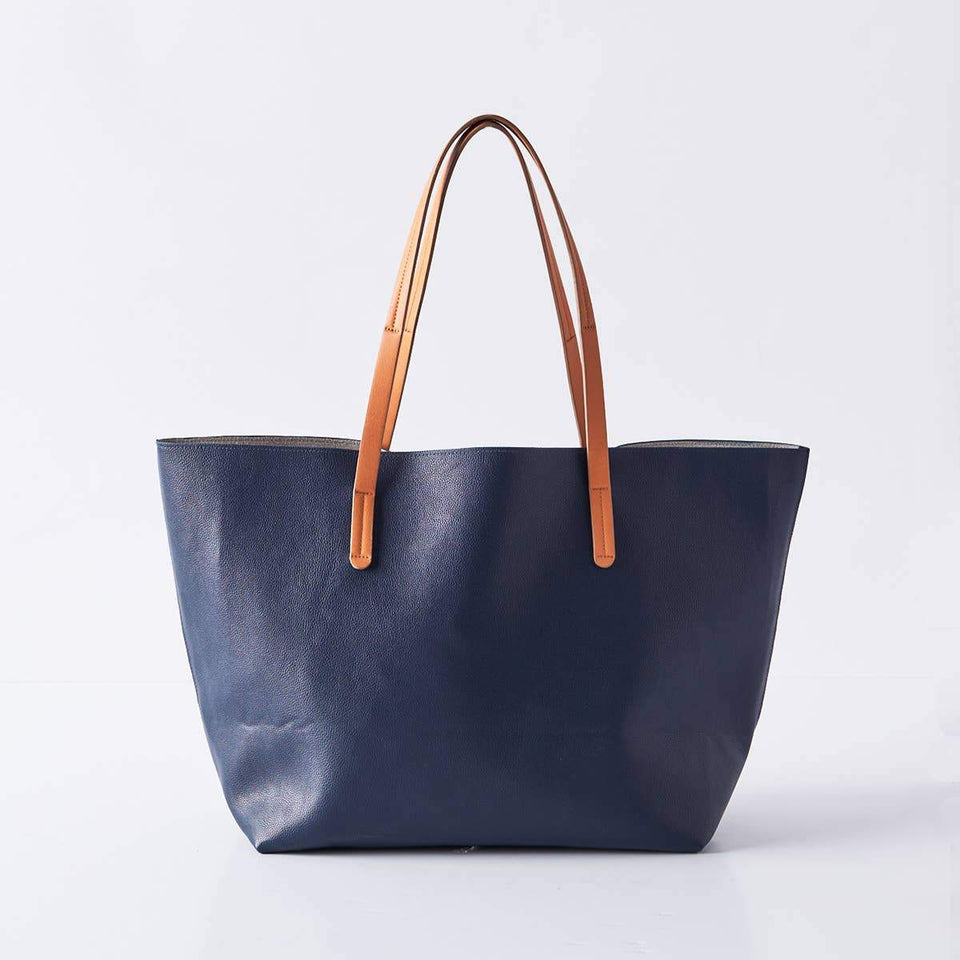 Boon Supply Bags Navy Vegan Leather Carryall Tote