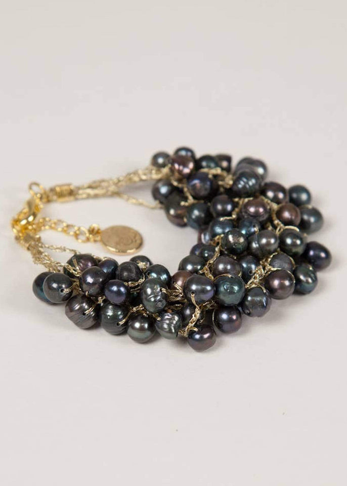 Crossroads Designs Bracelet Black Pebble Beach Pearl Bracelet
