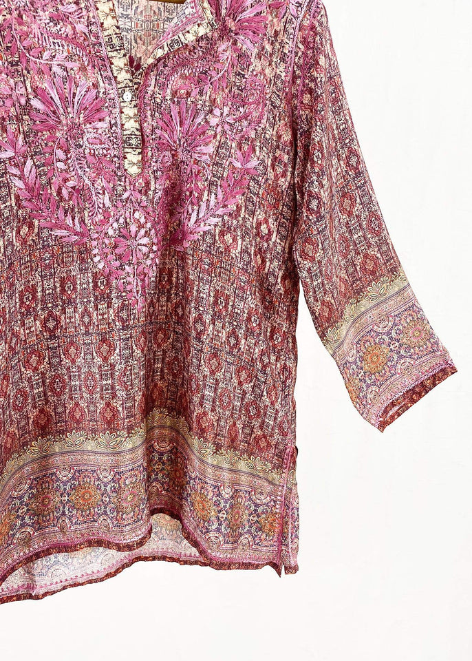 Dolma top Dolma Burgundy Hand Embroidered Silk Blend Tunic