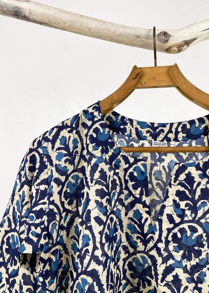 Dolma top Dolma Navy and Beige Floral Tunic