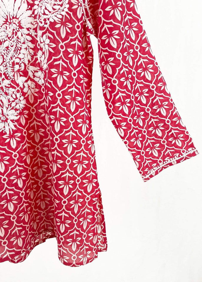 Dolma top Dolma Red Hand Embroidered Cotton Tunic