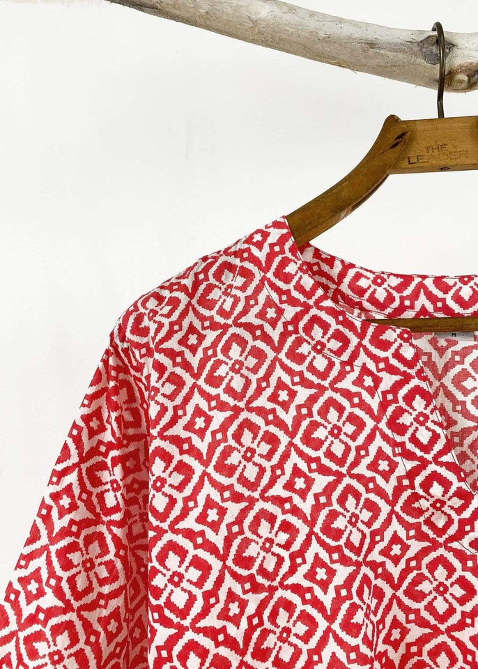 Dolma top Dolma Red Star Flower Printed Tunic