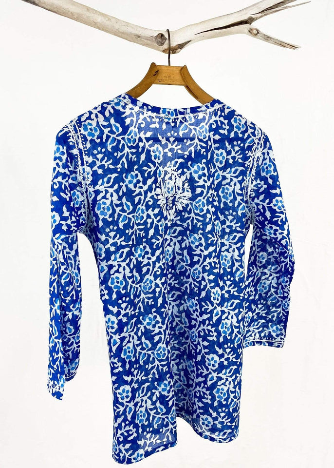 Dolma top Dolma Royal Blue Hand Embroidered Cotton Tunic
