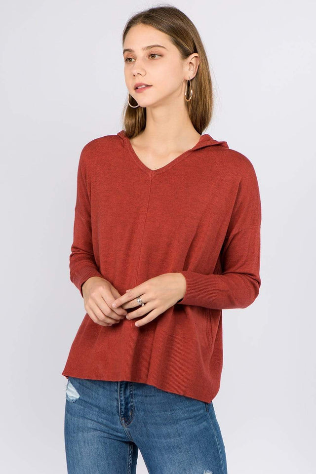 Dreamers top Heather Rust / Small/Medium Dreamers Basic Hooded Sweater- More Colors Available!