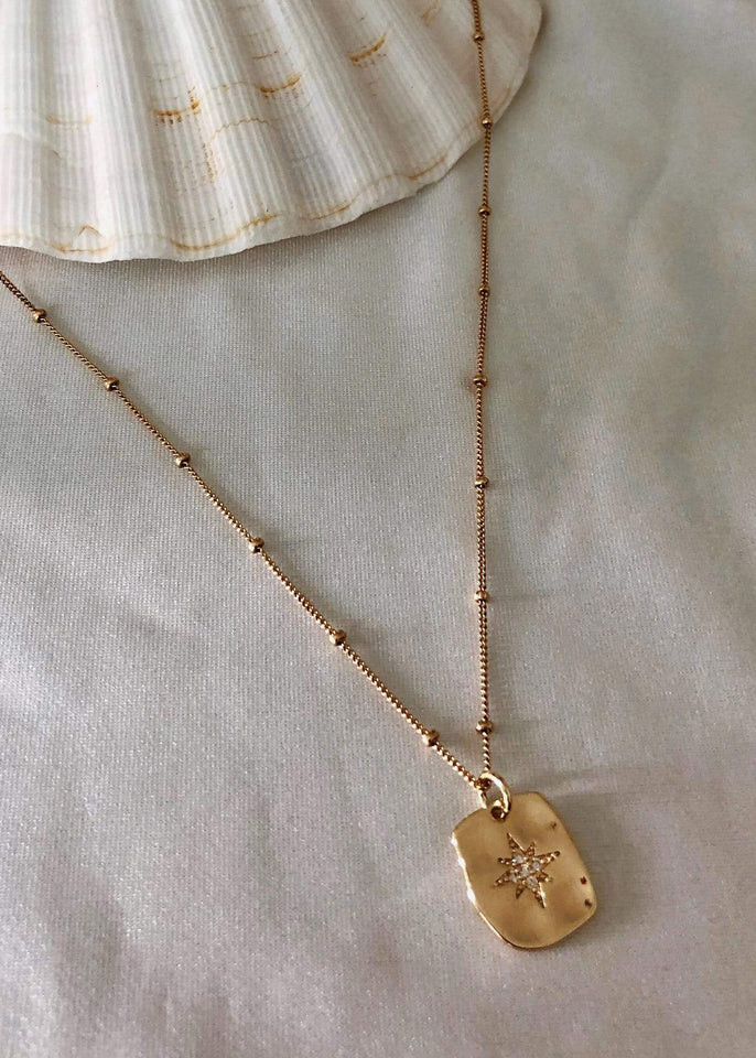 Flint J. Necklace Gold North Star Charm Necklace