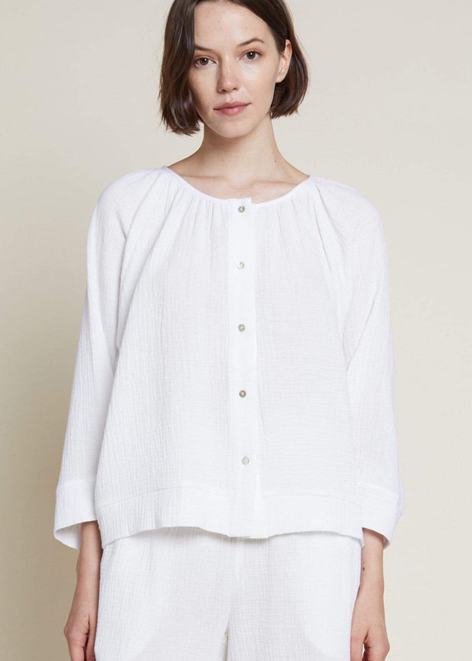 Grade & Gather top Seabreeze Double Gauze Button Down Top
