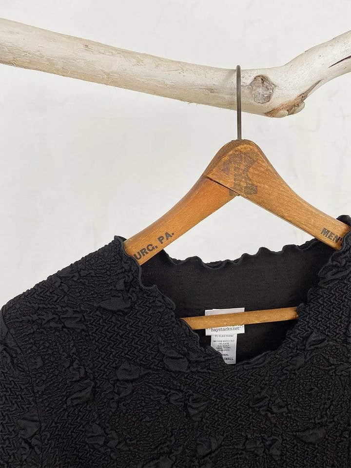 Haystacks Black Lyrac Surreal Textured Top