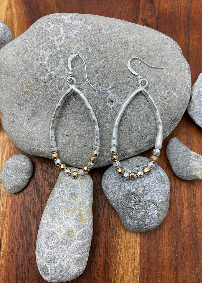 Haystacks Earring Silver/Gold Wishing Stone Hoop Earring