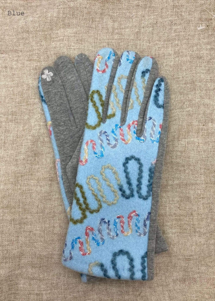 Haystacks Glove Blue Embroidered Zig Zag Winter Glove