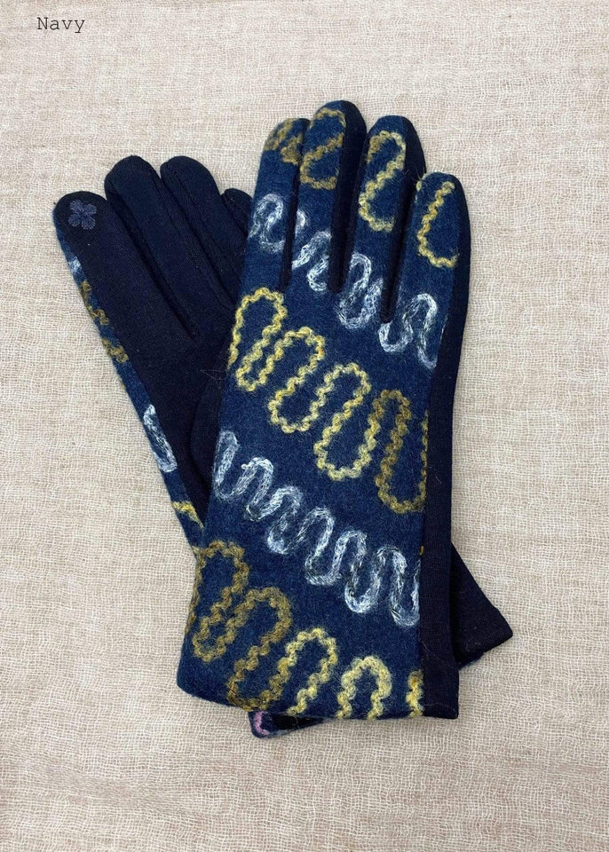Haystacks Glove Navy Embroidered Zig Zag Winter Glove