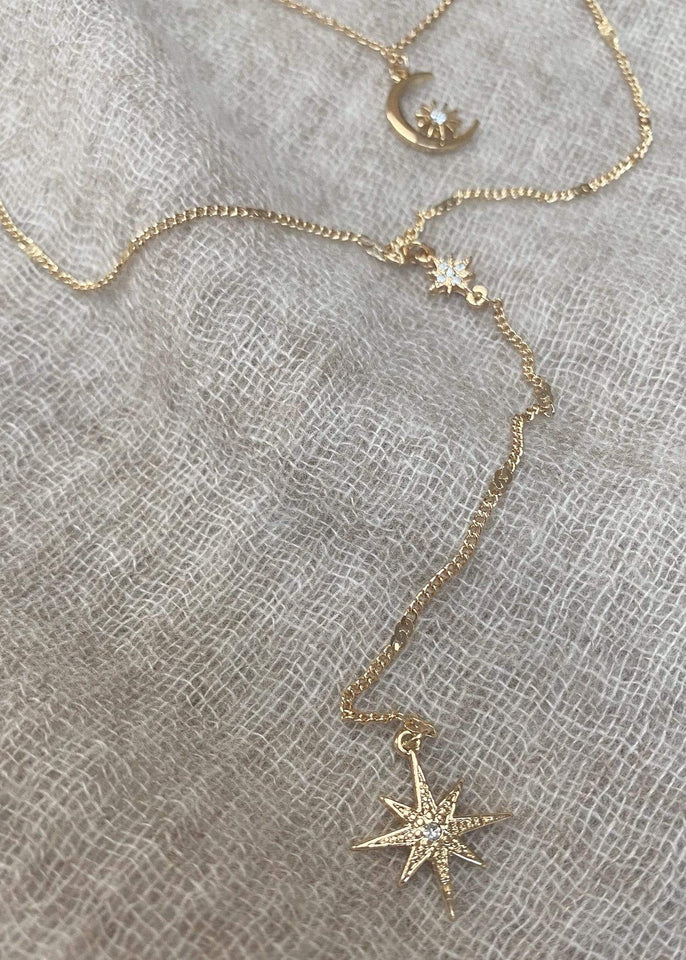 Haystacks Necklace Gold North Star Double Strand Pendant Necklace